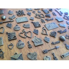 10 Mixed Bronze Love Charms