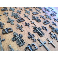 10 Mixed Bronze Cross Religious Charms