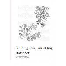 Heartfelt Creations Blushing Rose Swirls Cling Stamp Set