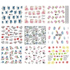 50 Sheets of Mixed Design Nail Water Decals