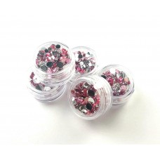 Pot of Mixed Pink & Silver Rhinestones