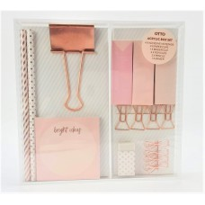 Otto Rose Gold Stationery Acrylic Box Set