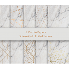 Nini's Things Paper Kit - Foiled Marble & Rose Gold